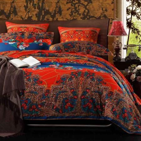 Bohemian Chic Bedding chinese red purple and peacock blue tribal print bohemian chic