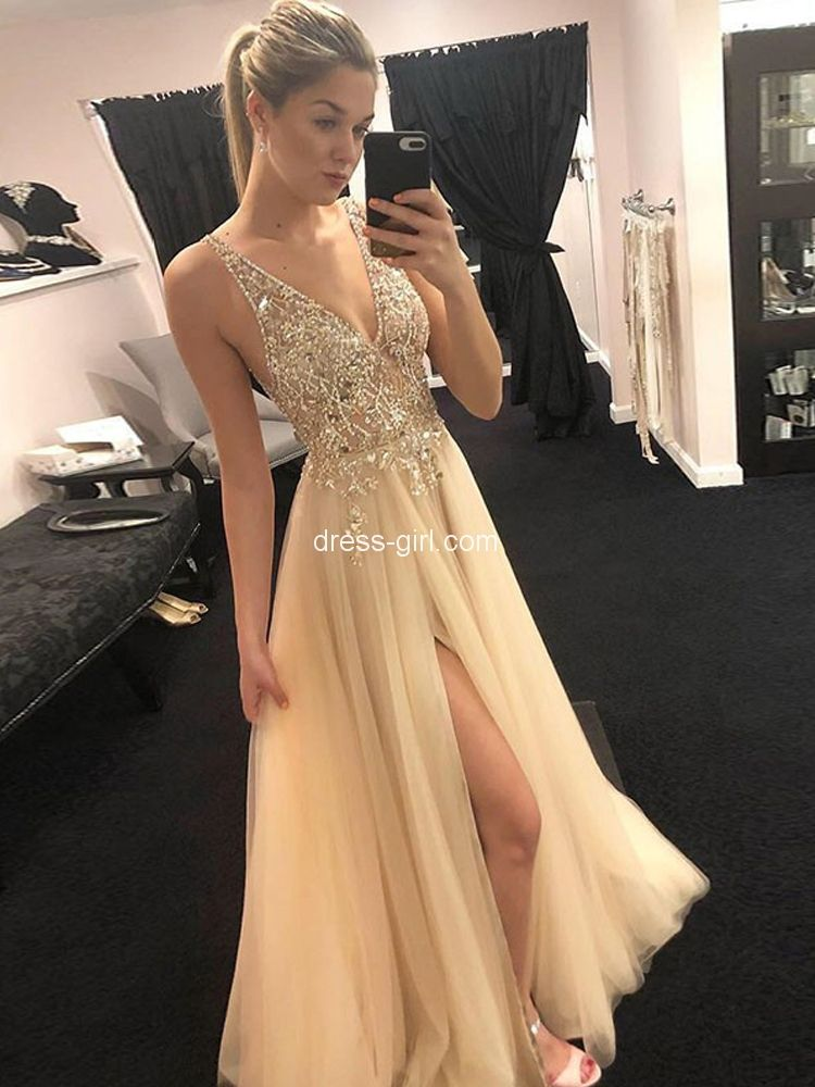 562e7f6a32 A-Line V Neck Open Back Champagne Tulle Long Prom Dresses with Beaded Split