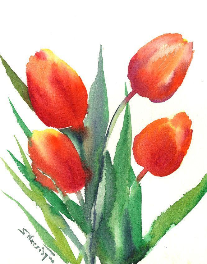 Red Orange Tulips Original Large Watercolor Painting 10 X 8 In