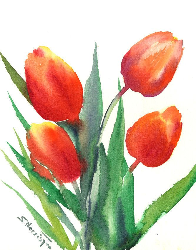 Red Orange Tulips Original Large Watercolor Painting 10 X 8 In