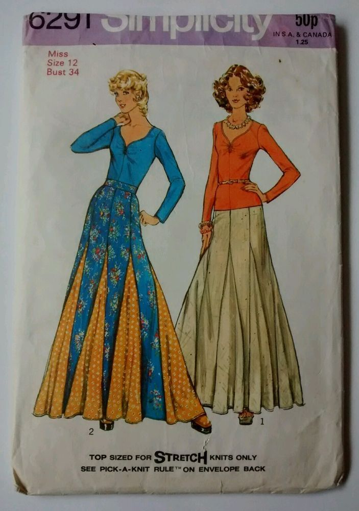 Vintage Simplicity Sewing Pattern 6291 Cut Pullover Top Maxi Skirt ...