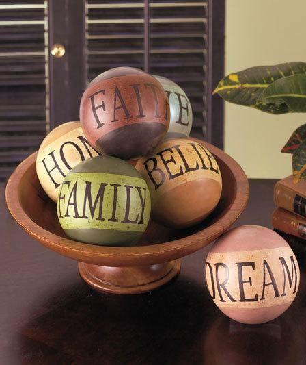 Home Decor Balls 6 Decorative Ceramic Balls With Words  1 Home Believe Faith