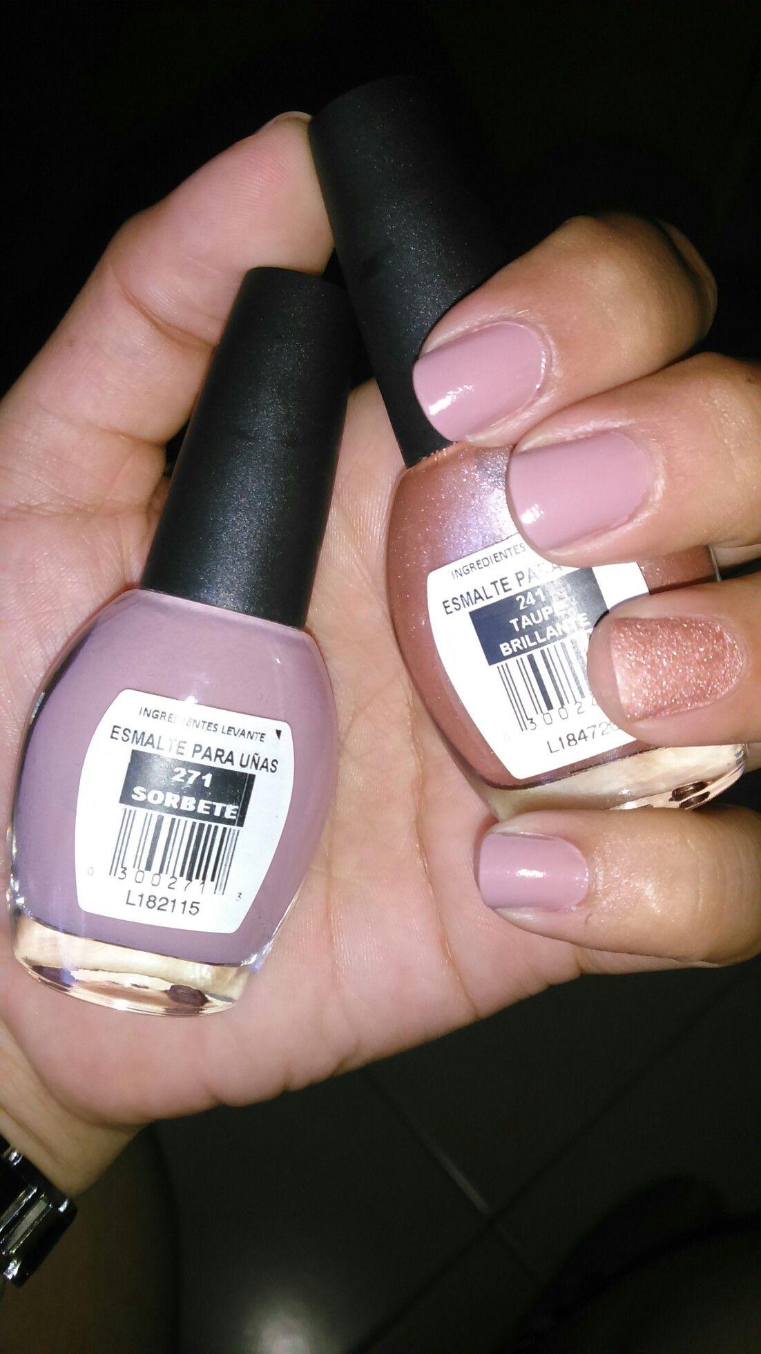 Esmalte Nude Bissú Sorbete/Taupe Brillante   combinación de uñas ...