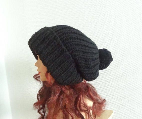 ef1b978870e1e Super Slouchy Beanie Big Baggy Hat Slouchy with pompom Women Hat - Large Men  hat Oversized beanie winter hat big hat black winter hat COLORS   ThingstoWear   ...