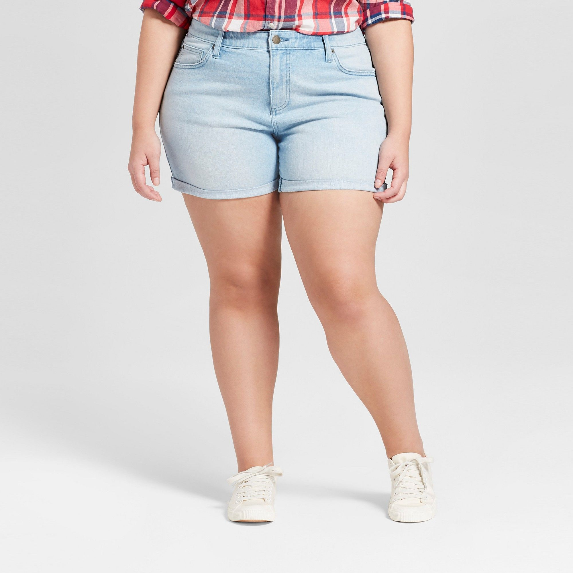 867fe02bcc160 Women s Plus Size Raw Hem Boyfriend Jeans Shorts - Universal Thread Light  Wash 20W