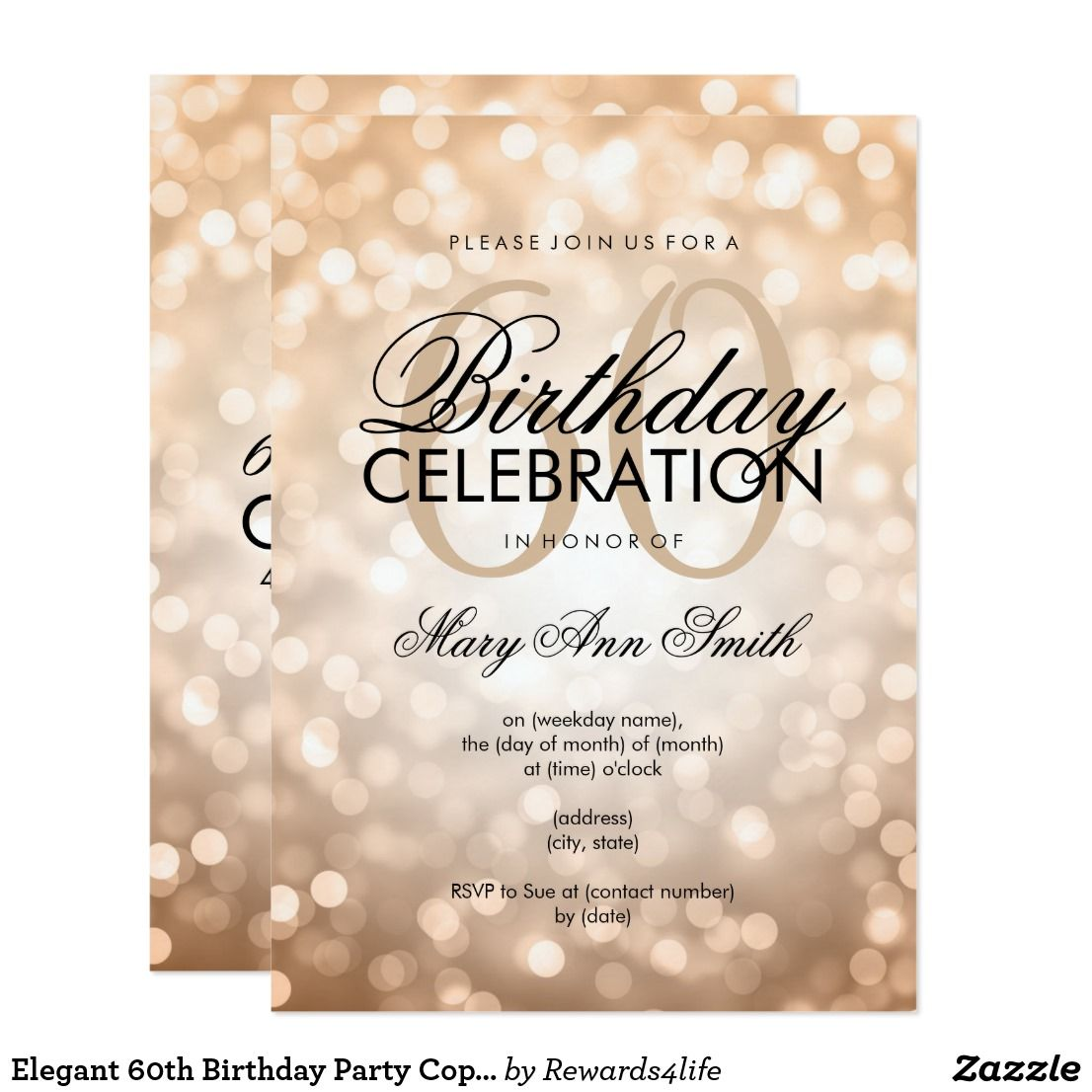 Elegant 60th birthday party copper glitter lights card birthday elegant 60th birthday party copper glitter lights card filmwisefo Choice Image