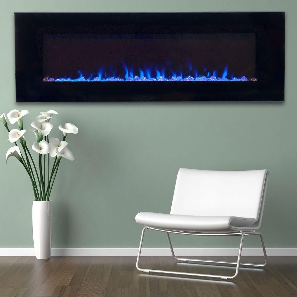 in LED Fire and Ice Electric Wall Mount Fireplace Heat