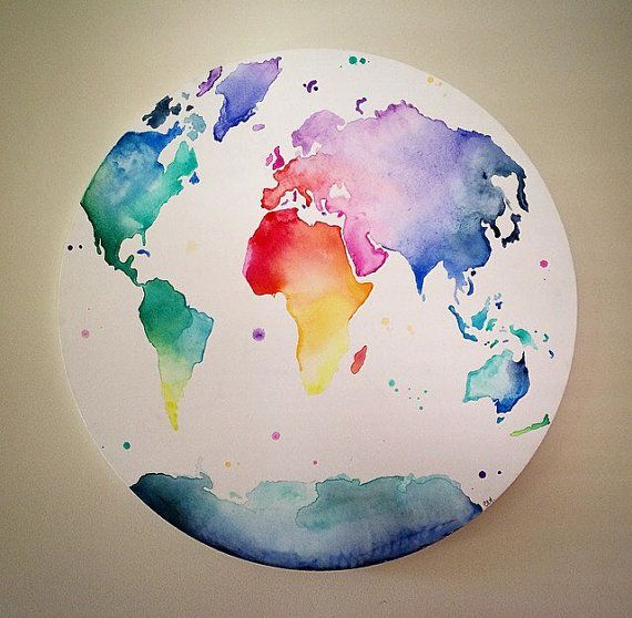 World map globe multicolour globe trotter hand painted world map globe multicolour globe trotter hand painted canvas wall art gumiabroncs Images