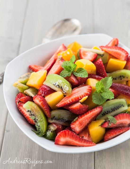 Fruit Salad Recipe With Kiwi Strawberries And Mango Andrea Meyers Recipe Fruit Salad Recipes Summer Salads With Fruit Kiwi Salad Recipe