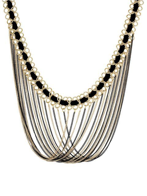 Designer Costume Jewelry Black and Gold Colour Alloy Neckpiece