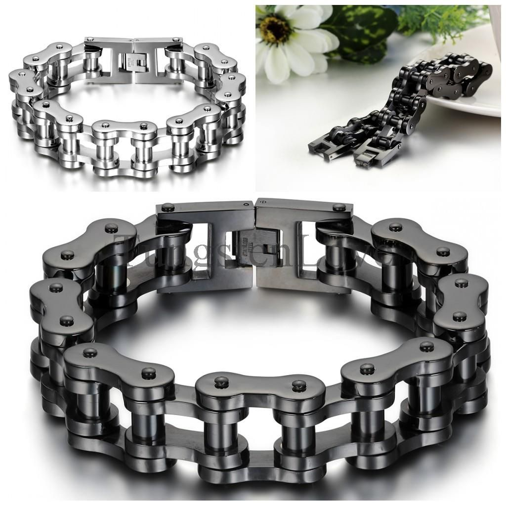 Motorcycle bike chain ring 14k black - 23cm 18mm Heavy Wide Stainless Steel Bracelet Men Biker Bicycle Motorcycle Chain Men S Bracelets Mens