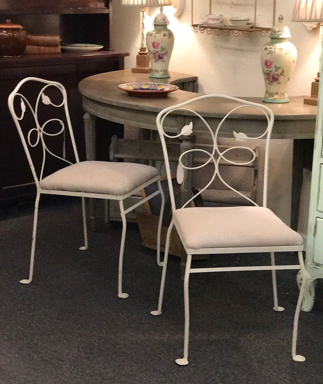 pair metal garden chairs with new linen upholstered seats 129 pair shabby chic dallas dallas - Garden Furniture Shabby Chic