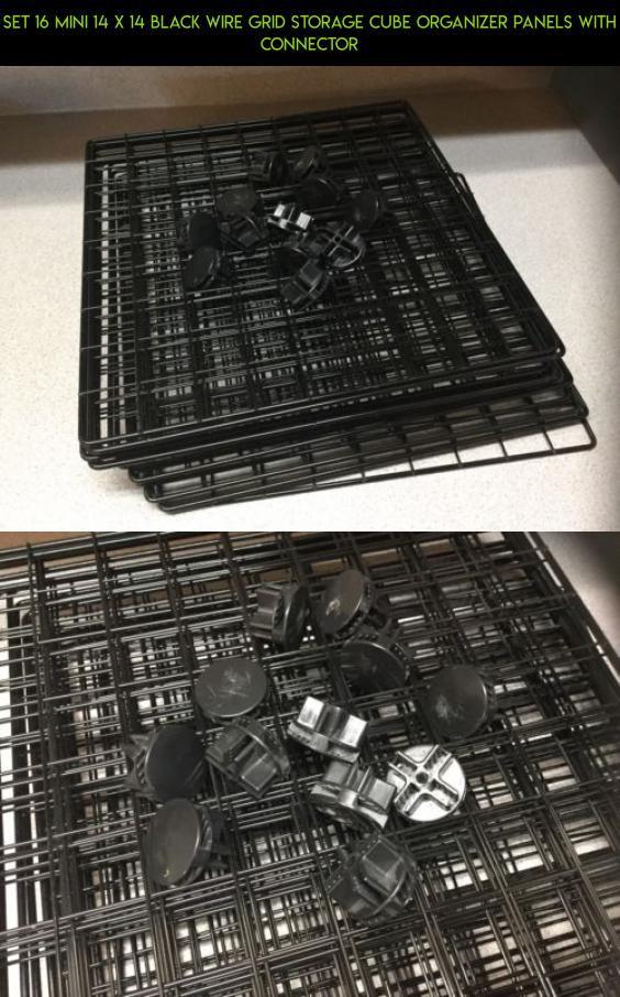 Set 16 Mini 14 x 14 Black Wire Grid Storage Cube Organizer Panels with Connector # & Set 16 Mini 14 x 14 Black Wire Grid Storage Cube Organizer Panels ...