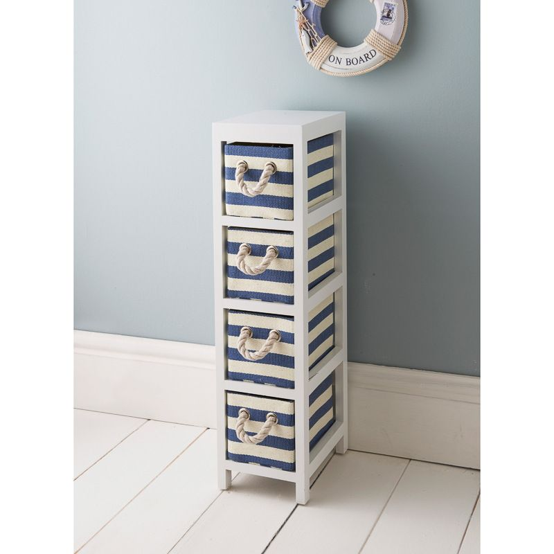 £19.99   White Chest With Hearts And Blue And White Marine Colour Drawers    W17
