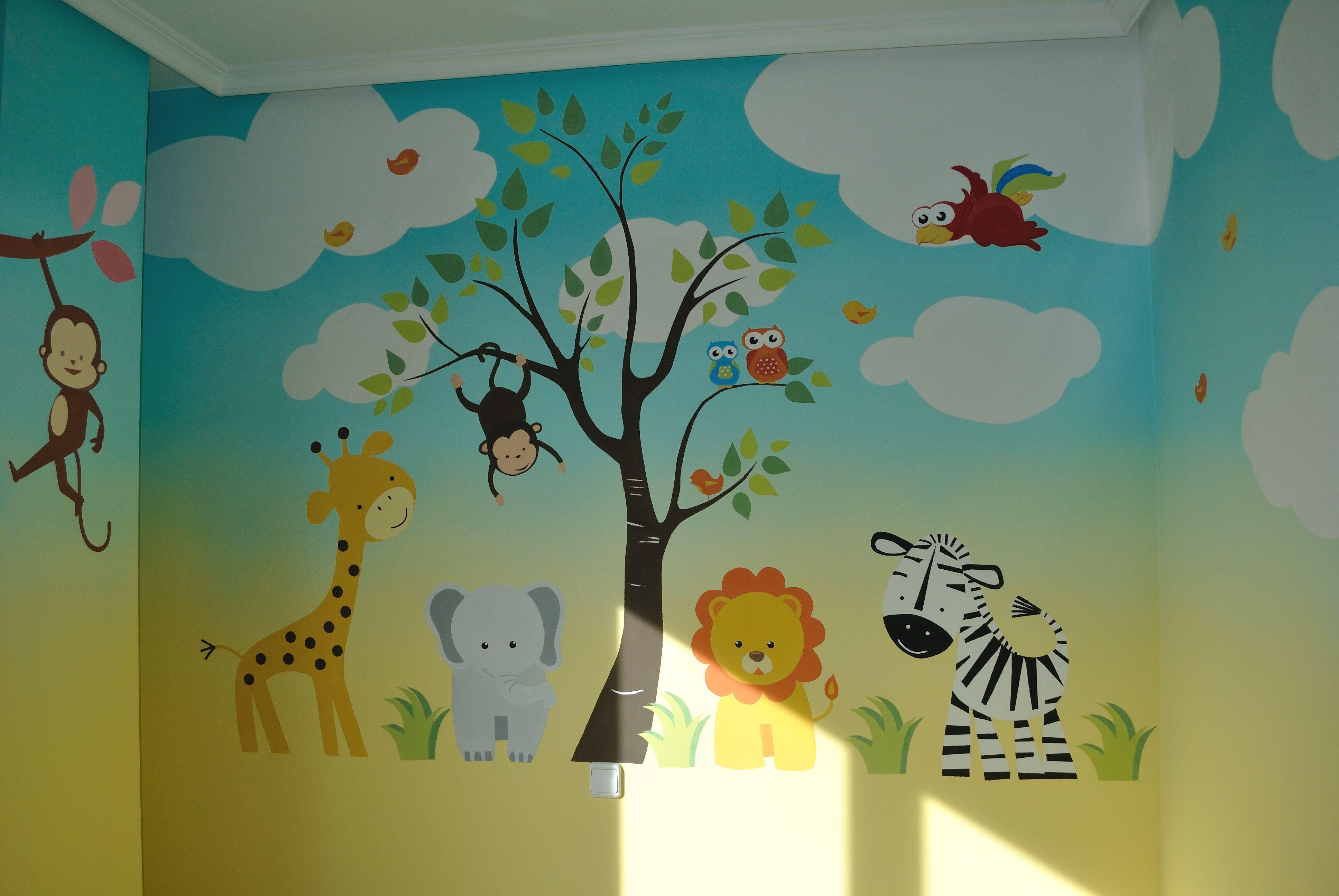 mural infantil cuarto beb pinte. Black Bedroom Furniture Sets. Home Design Ideas