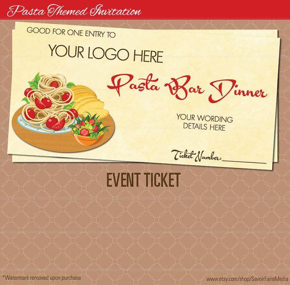 Spaghetti Dinner Event Ticket / Pasta Italian Night Dinner Poster