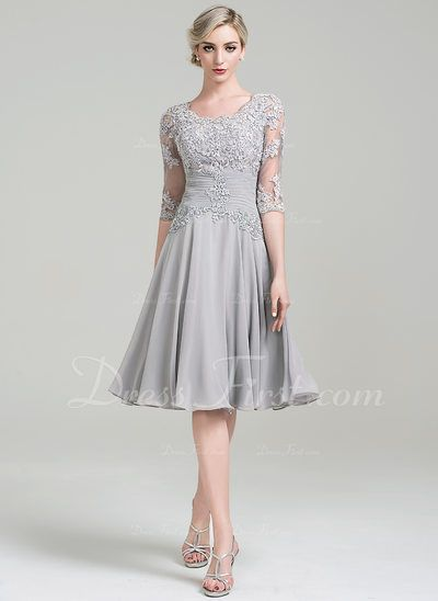 5139d4b2a295 A-Line Princess Scoop Neck Knee-Length Chiffon Mother of the Bride Dress  With Ruffle Appliques Lace (008085301)