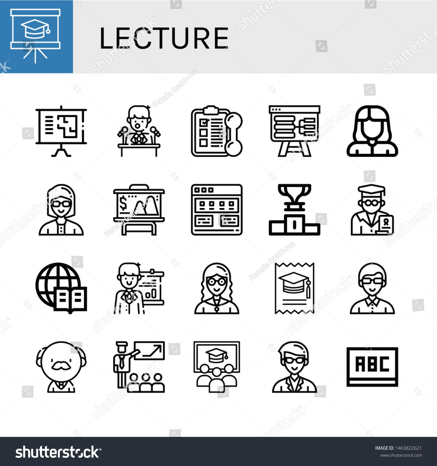 Set Of Lecture Icons Such As Presentation Press Conference