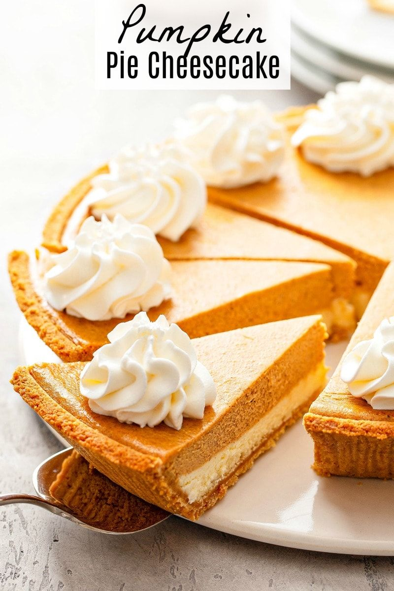 This phenomenal Pumpkin Pie Cheesecake has a thick layer of cheesecake, topped with a layer of spiced pumpkin cheesecake, all wrapped in a graham cracker crust! #PumpkinPieCheesecake #PumpkinCheesecake #PumpkinPie #Pumpkin #PumpkinRecipes #Thanksgiving #ThanksgivingRecipes #Fall #FallRecipes #Dessert #Pie #ThanksgivingDesserts #pumpkindesserts