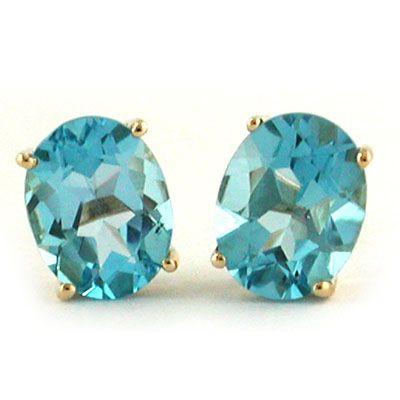 14K Blue Topaz Oval 7x9 Stud Earrings - Fire & Ice