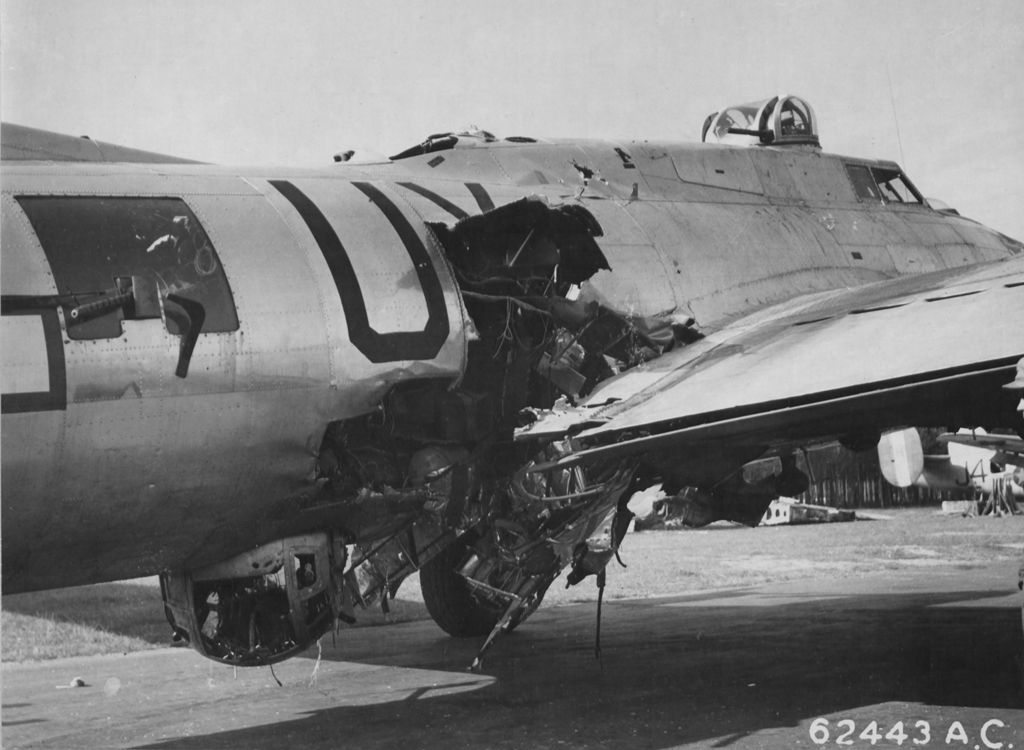 new style 8a1f2 2c85e The flak hit on B-17G  Sky Monster  on 13 September 1944 blew the radio  operator out of the aircraft and killed the waist gunner and ball turret  gunner.