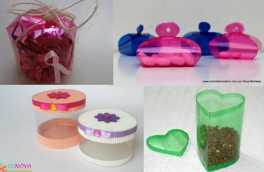4 cajas de regalo hechas con botellas de pl stico - Cajas de plastico ...