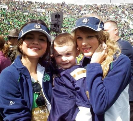 taylor and selena at the notre dame football game. :)