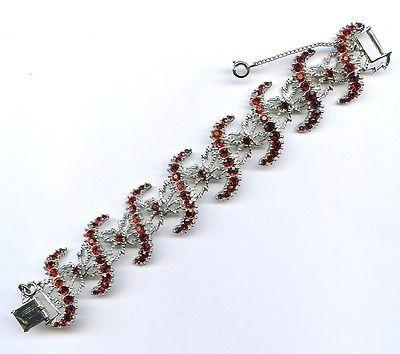 "Vtg Red Rhinestone ""S"" Panel Link Silver Tone 1-3/8"" Wide Bracelet 7-1/4"" Long"