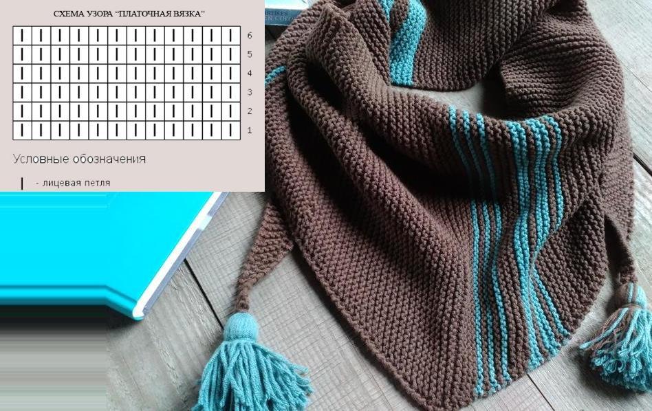 схемы вязания пуховых платков спицами с описанием