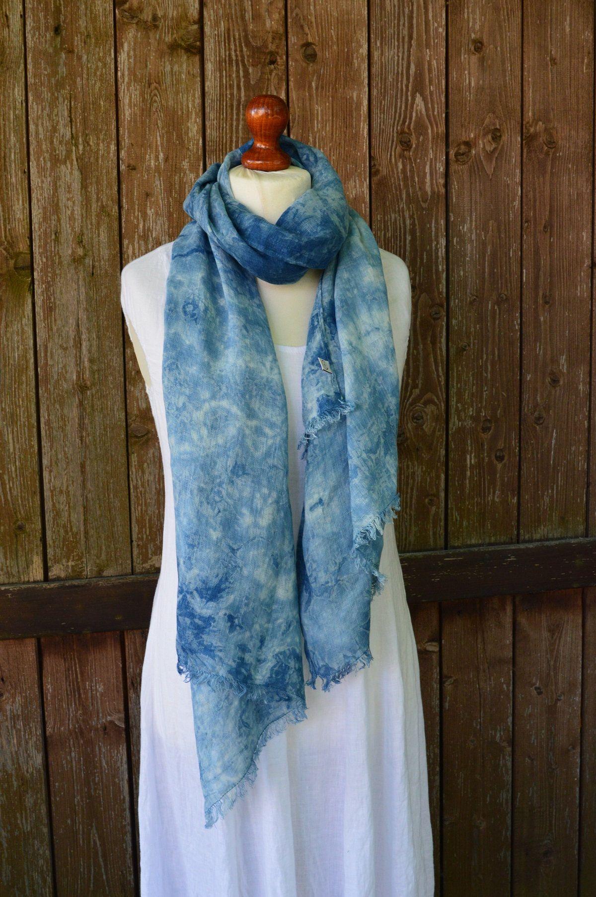 Linen scarf, indigo scarf, linen shawl, blue scarf, summer scarf