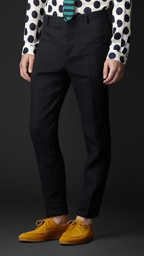Burberry Prorsum Relaxed Fit Linen Trousers
