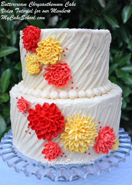 Buttercream Chrysanthemums on Textured Buttercream Chrysanthemums