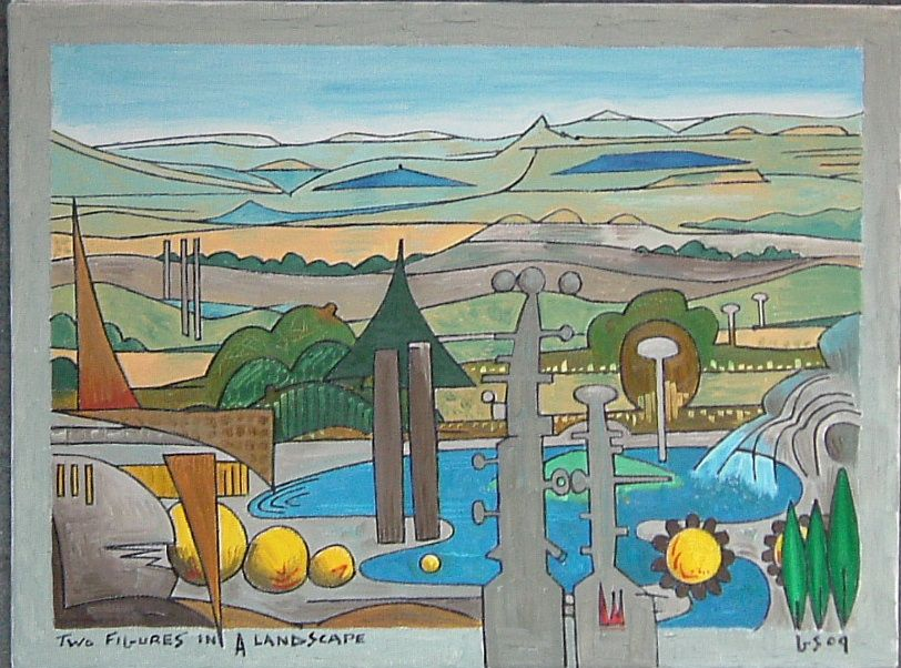 Gerald Shepherd: Two Figures In A Landscape - Version Two