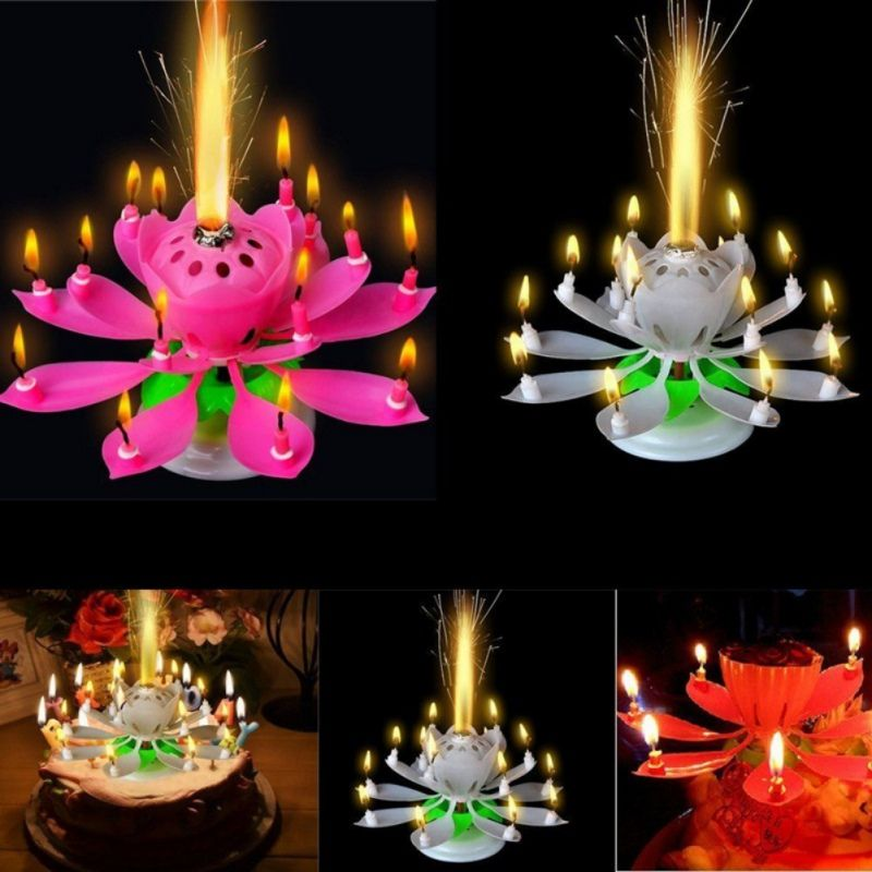 DTY Musical Party Decorations Art Candle Lotus Flower Happy Birthday