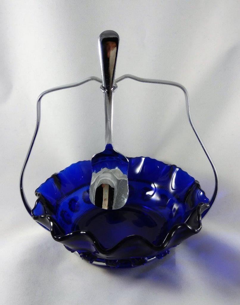 Vintage Collectable Cobalt Blue Glass Blackberry Prunt Jam Sugar
