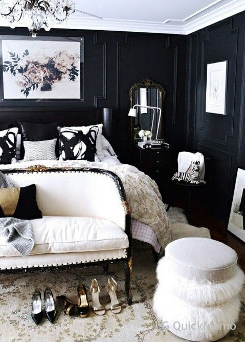 Black and White chic fancy Bedroom Room Makeovers Pinterest