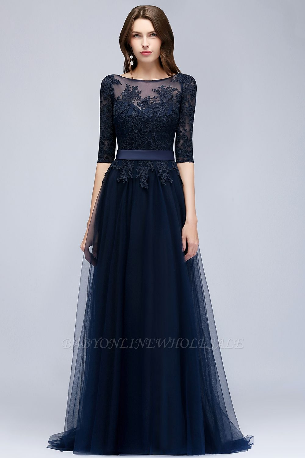 9ae3604017bb NANA | A-line Half Sleeves Floor Length Slit Appliqued Tulle Prom Dresses  with Sash | www.babyonlinewholesale.com