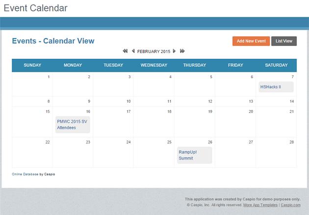 Free App Event Calendar For Any Website Caspio News To Go