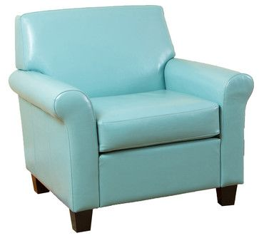 Best Addison Ocean Blue Leather Club Chair Transitional 400 x 300