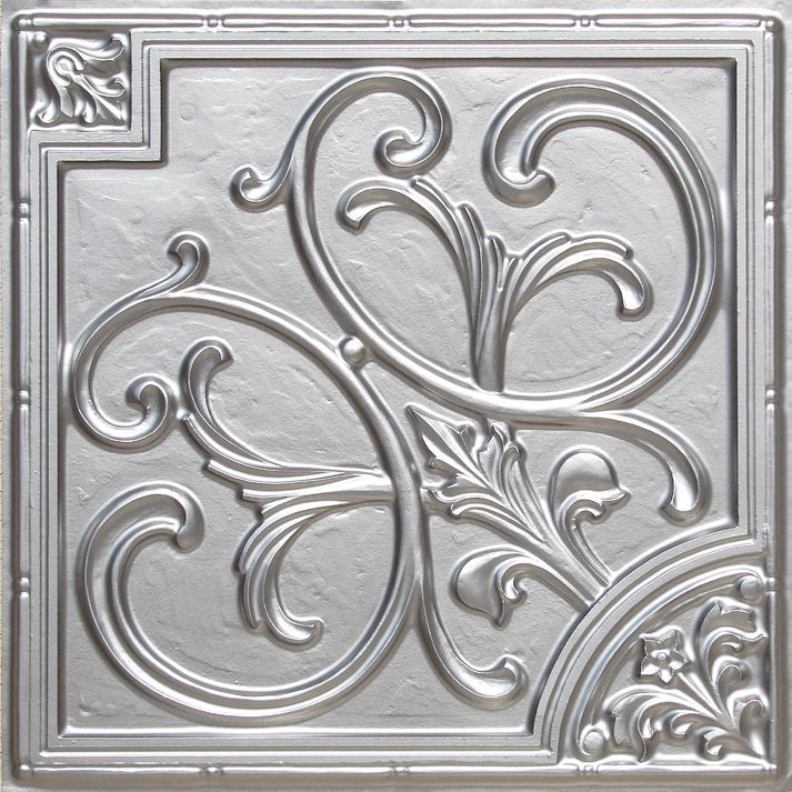 "Decorative Plastic Ceiling Tiles Alluring Lilies And Swirls  Faux Tin Ceiling Tile  24""x24""  #204  Faux Design Decoration"