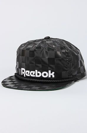 12f3ee64b55 The Monochrome Checker Snapback Cap in Black by Reebok use rep code  OLIVE  for 20% off