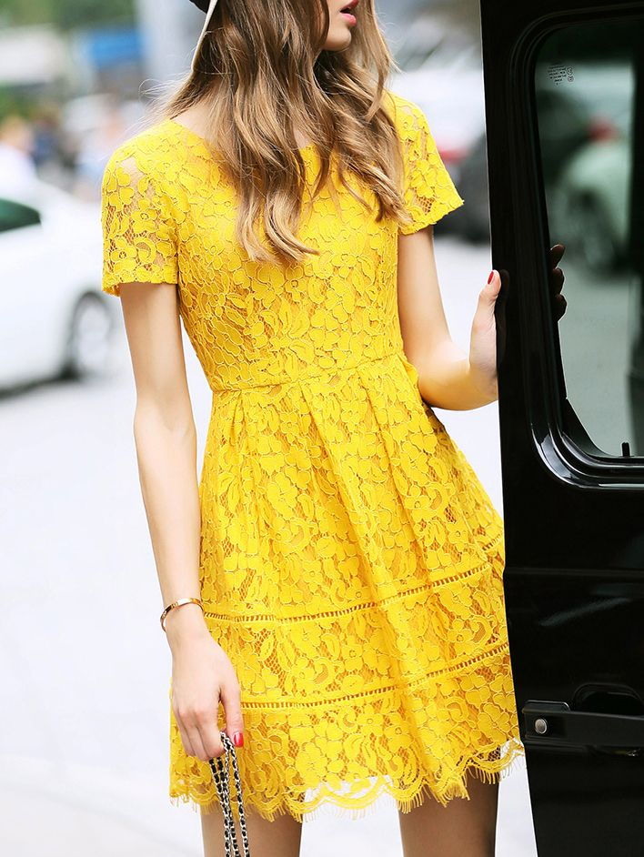 21+ Kleid Gelb Spitze Stil - Givil Lardo