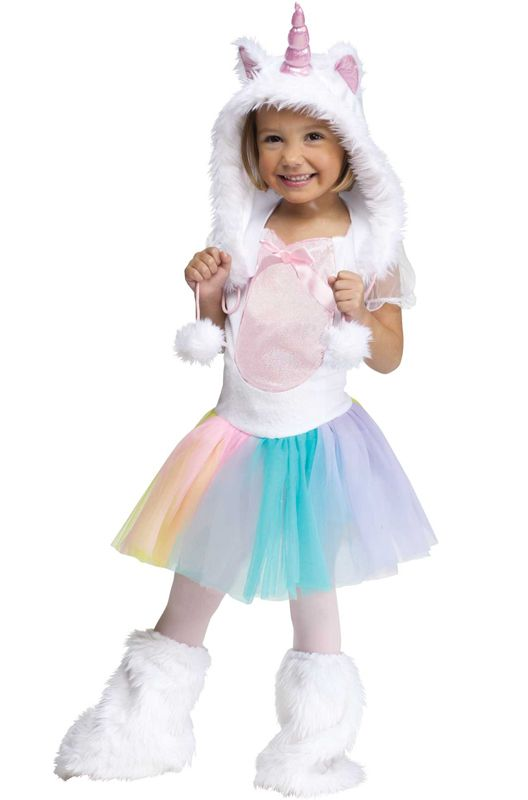 Unicorn Toddler Costume includes a dress, hood with horn, and matching boot covers to transform you into a mystical myth! Become a lovely legend in this charming unicorn costume!