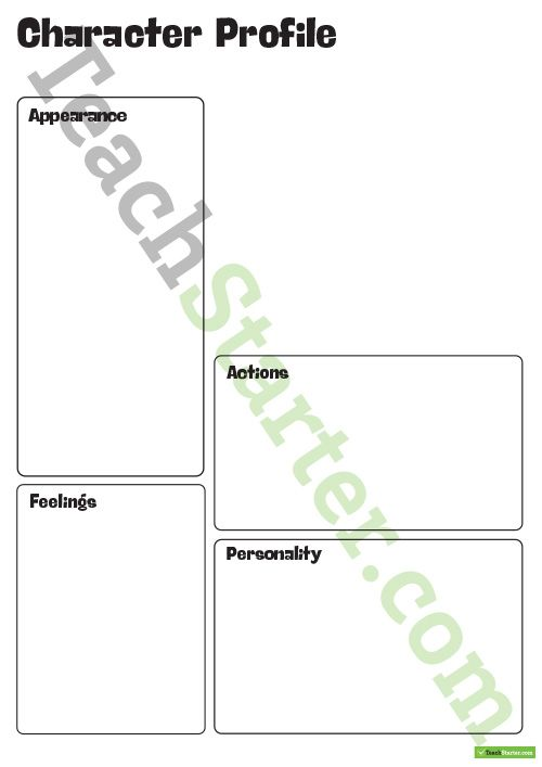 Character Profile Template Teaching Resource | Pinterest | Template ...