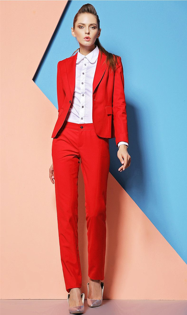 Custom made Formal-Pantsuits-Red-Women-Suits-with-Pants-and-Top ...