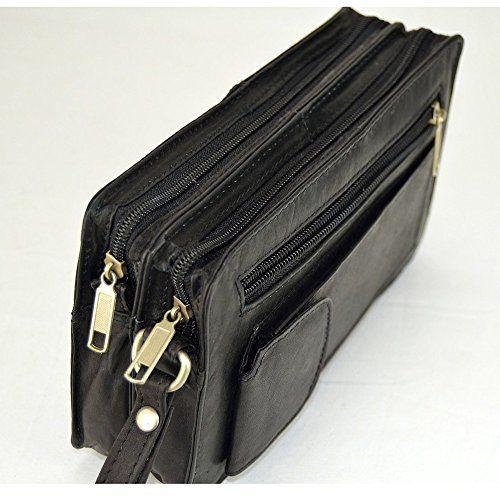 echt leder handgelenktasche herrentasche ledertasche doppelkammer schwarz handtaschen. Black Bedroom Furniture Sets. Home Design Ideas