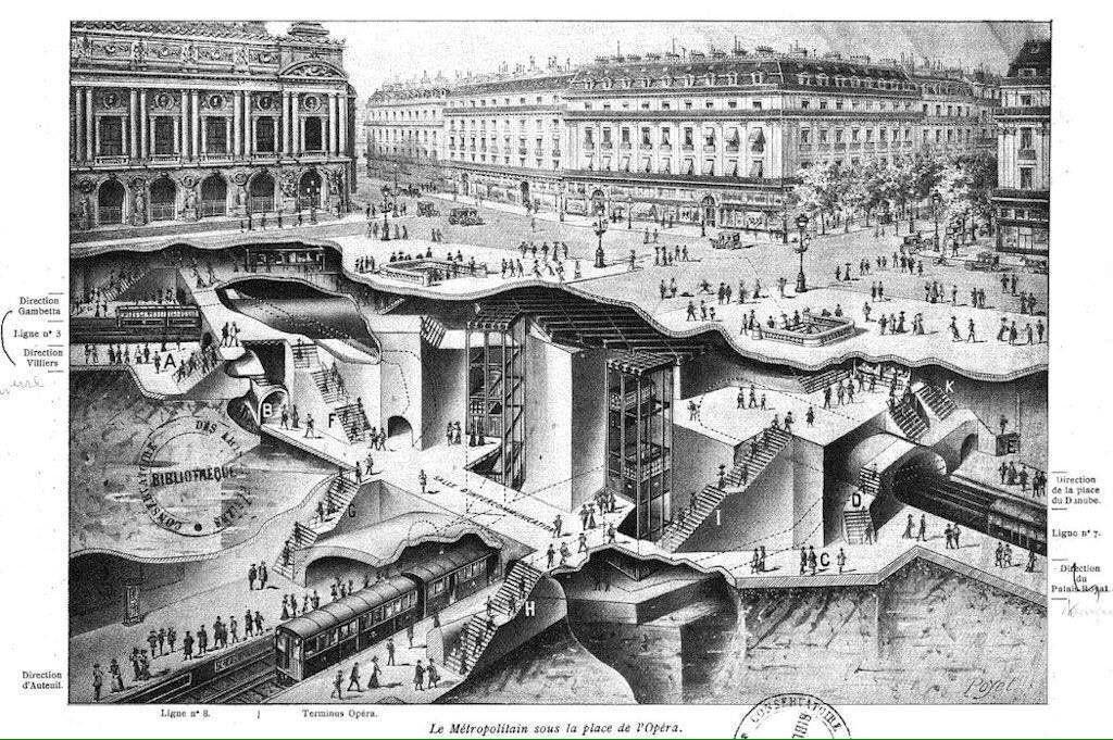 d couvrir le sous sol de la place de l 39 op ra avec la ligne 8 de metro vers 1913 paris paris. Black Bedroom Furniture Sets. Home Design Ideas
