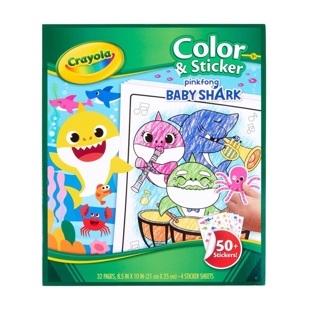 Crayola Baby Shark Color Sticker Book White Baby Coloring