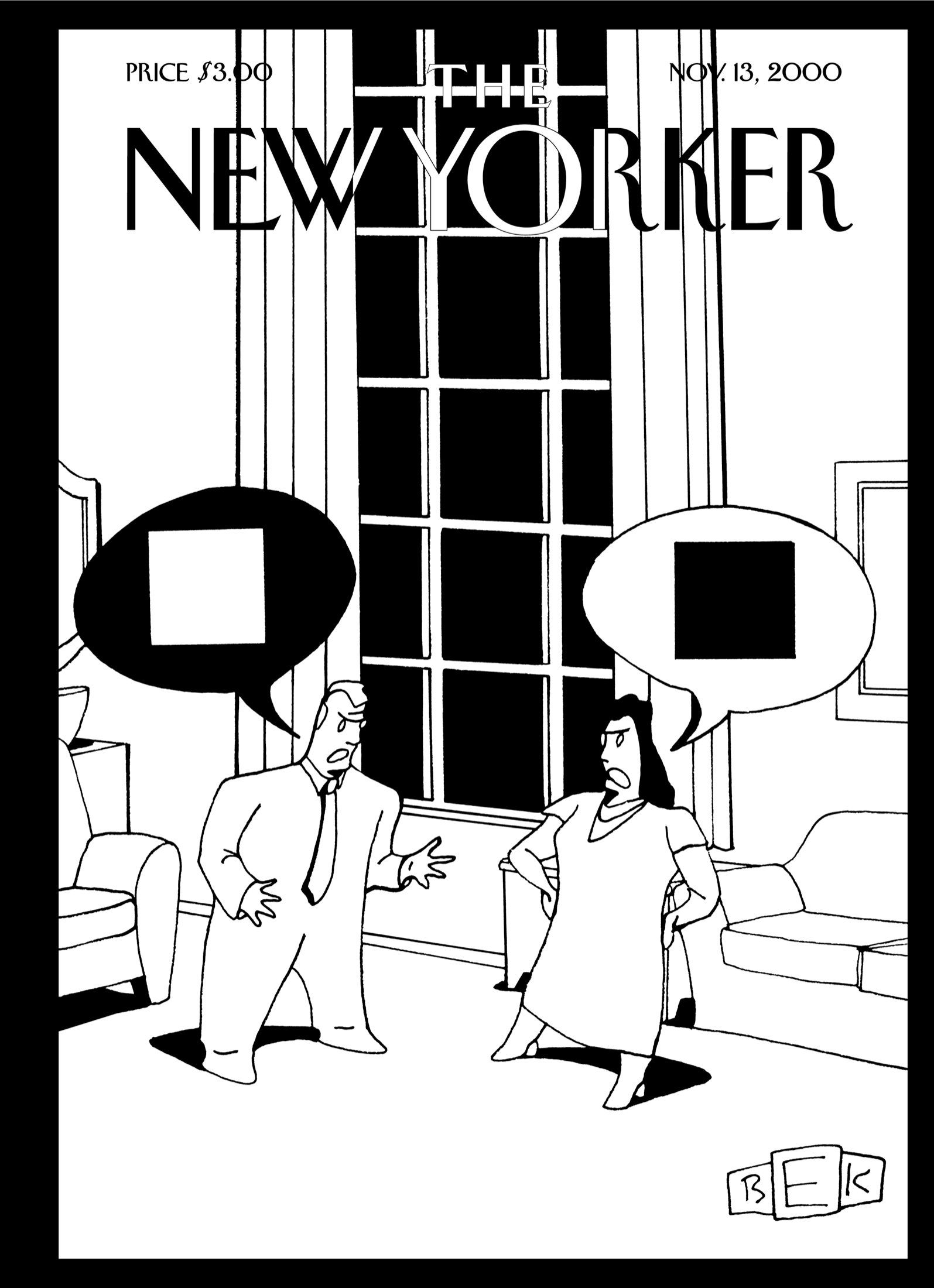"The New Yorker - Monday, November 13, 2000 - Issue # 3912 - Vol. 76 - N° 34 - « The Cartoon Issue » - Cover ""Irreconcilable Differences"" by Bruce Eric Kaplan"
