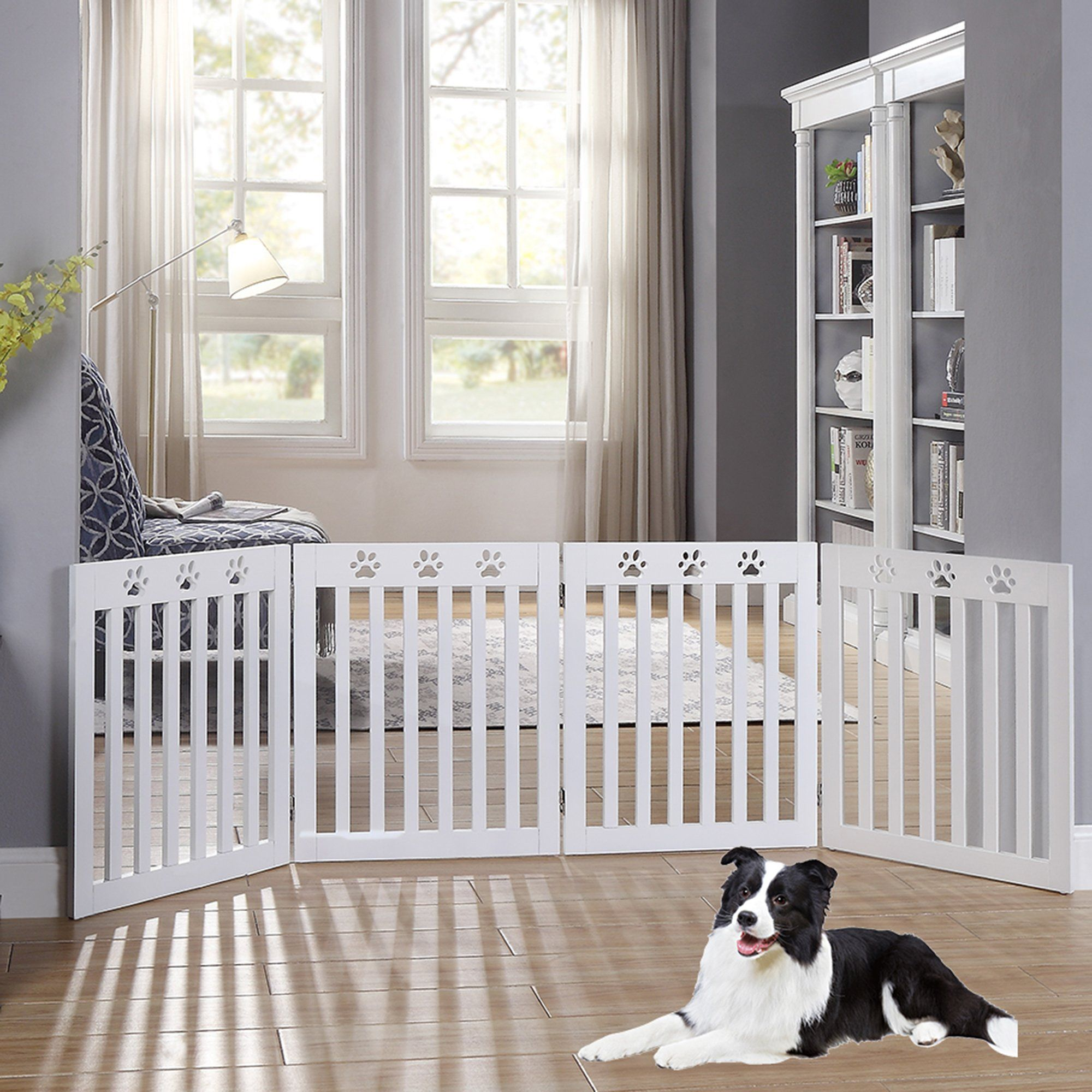 Unipaws Paw Deco 4 Panel Dog Gate White Assembly Free 20 80 W X